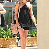 Sarah Michelle Gellar wore a black halter top with black shorts and wedge sandals in LA.