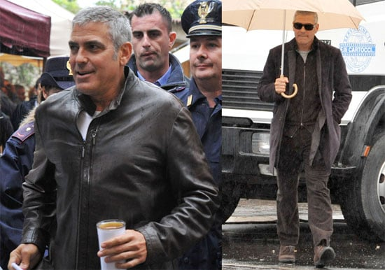 Pictures of George Clooney on the Set of The American