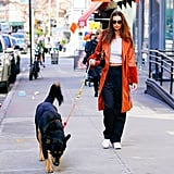 Emily Ratajkowski Wearing a Faux-Fur Vegan Leather Coat in NYC