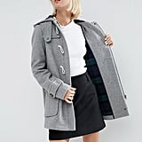 Asos Hooded Wool Blend Duffle Coat With Checked Liner