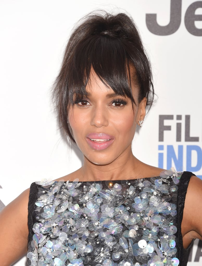 Kerry Washington just gave us all the Spring wedding hair inspiration we need at the 2017 Film Independent Spirit Awards. The actress took the red carpet donning a perfectly tousled high ponytail crafted by hair stylist Takisha Sturdivant-Drew. Her piecey updo was created using clip-in bangs, which proves you can easily copy her playful look without touching a pair of scissors. With her hair off her shoulders, she allowed her sparkly Prada dress to truly shine.      Related:                                                                                                           So This Is How Kerry Washington Got Her Hair So Smooth For the SAGs               Her makeup, done by makeup artist Carola Gonzalez, was sweet and simple. She used Neutrogena Hydro Boost Hydrating Lip Shine in Radiant Rose for her bubblegum-pink glossy lips. Keep reading to see Kerry's fun beauty look from every angle.