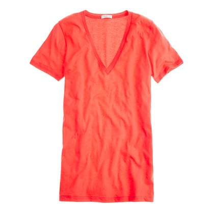 These essential tees come in a rainbow of colors and will work just about anywhere. They'll pair with everything from go-to denim to your bikini at the beach.  J.Crew Tissue V-Neck Classic Tee ($30)