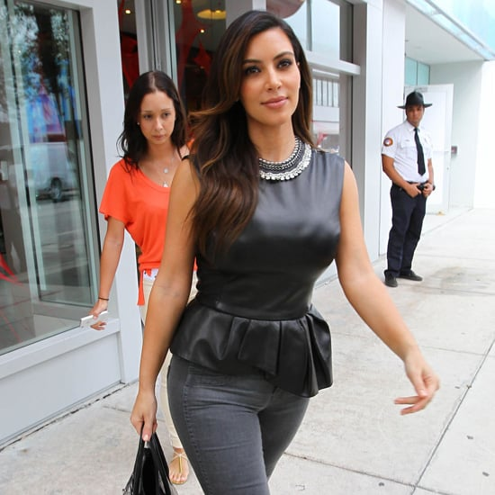 Kim Kardashian Wearing Black Leather Peplum Top