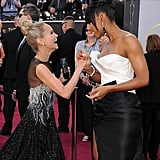 Kristin Chenoweth and Kelly Rowland laughed together on the red carpet.