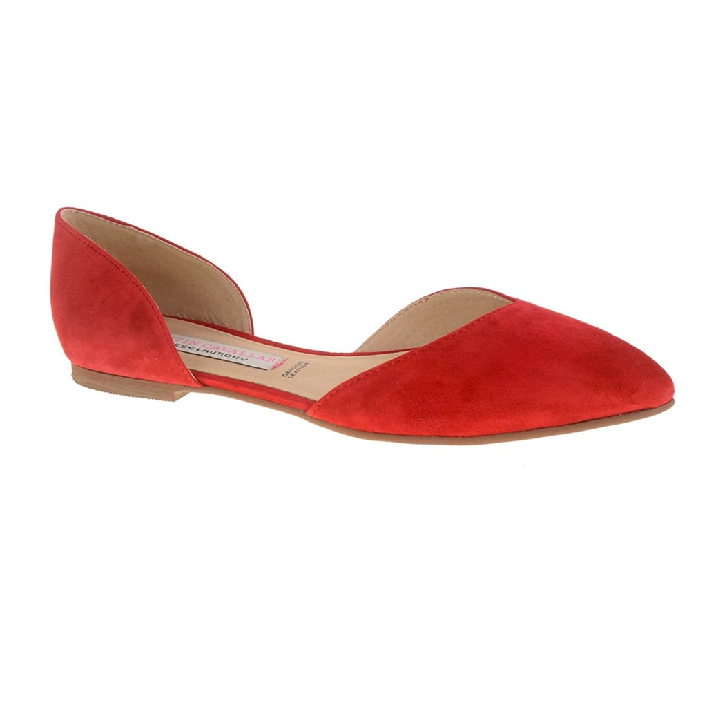 Suede Two Piece Pointed Toe Flats