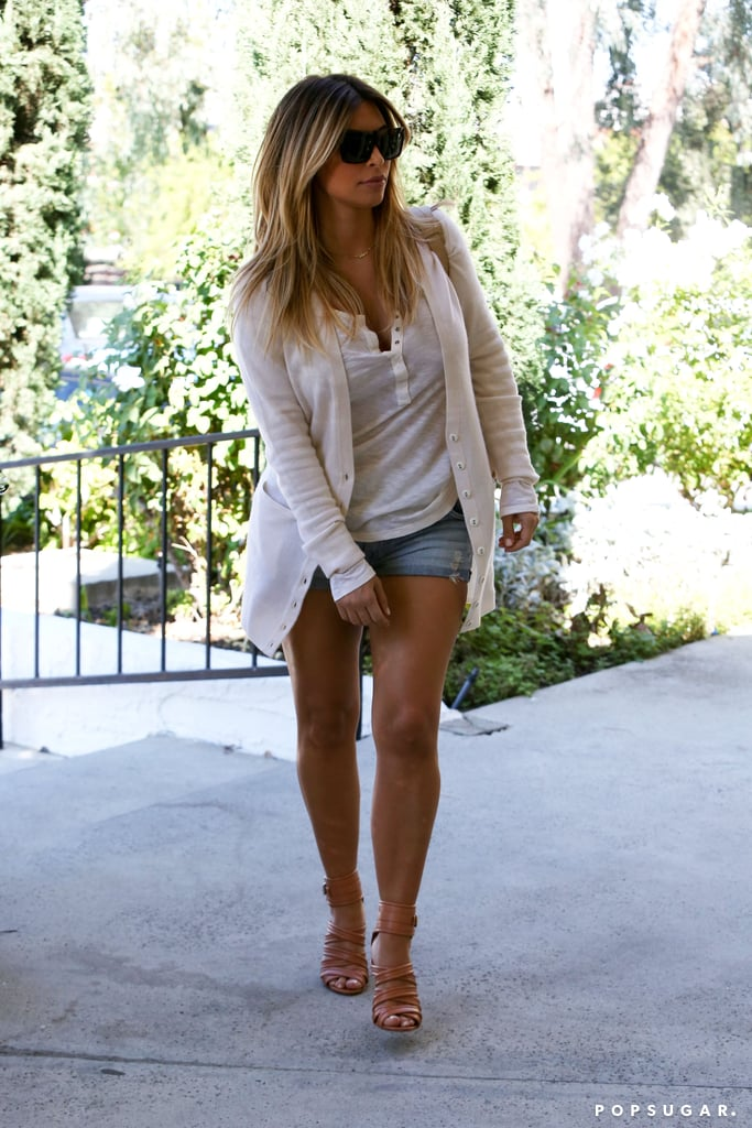 Kim Kardashian wore denim shorts in LA.