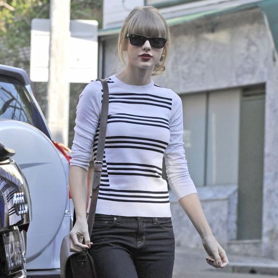Taylor Swift Wearing Striped Sweater