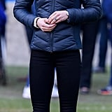For an afternoon with the Irish Football Association in February 2019, the duchess wore a simple pair of dark blue trainers.