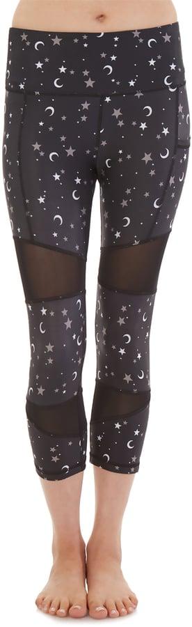 Black Star and Moon Mesh-Insert Capri Leggings