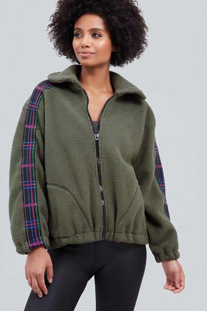 Terez Olive Glitter Plaid Fleece Jacket