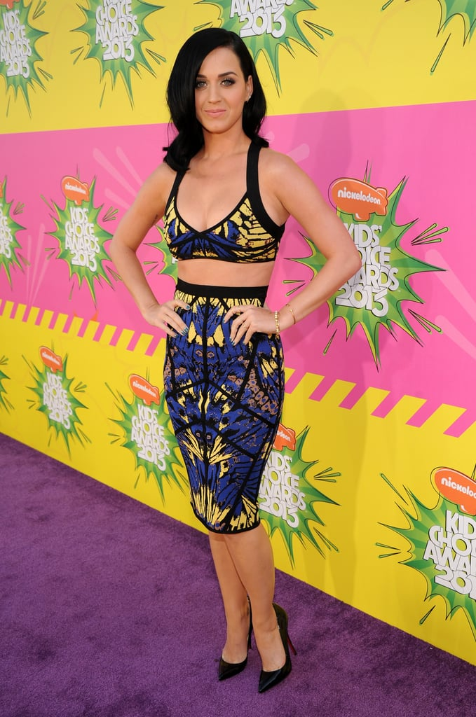 Looking every bit the California girl that she is, Katy donned a body-con Hervé Léger combo at the Kids' Choice Awards in July 2013.