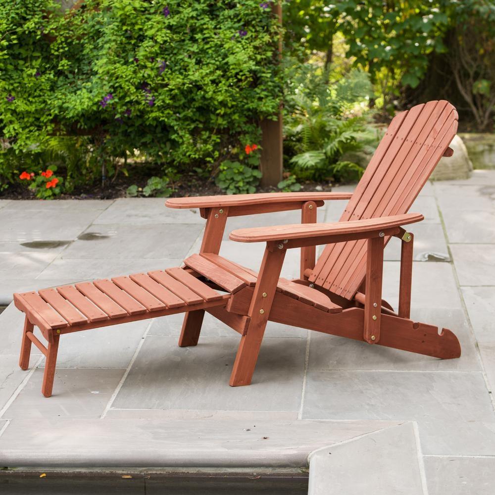 Leisure Season Reclining Patio Adirondack Chair With Pull