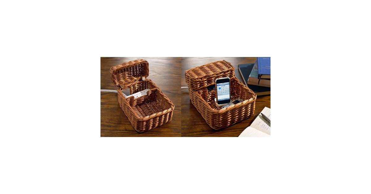 rattan charging station from pottery barn popsugar tech. Black Bedroom Furniture Sets. Home Design Ideas
