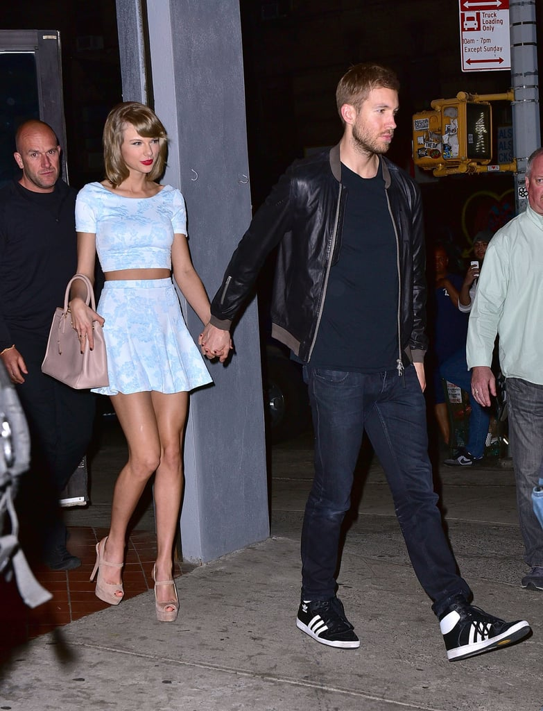 8ef18cf102246e Taylor Swift Wearing Aqua Top and Skirt With Calvin Harris ...