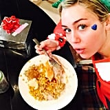 Miley Cyrus indulged in a savory meal.