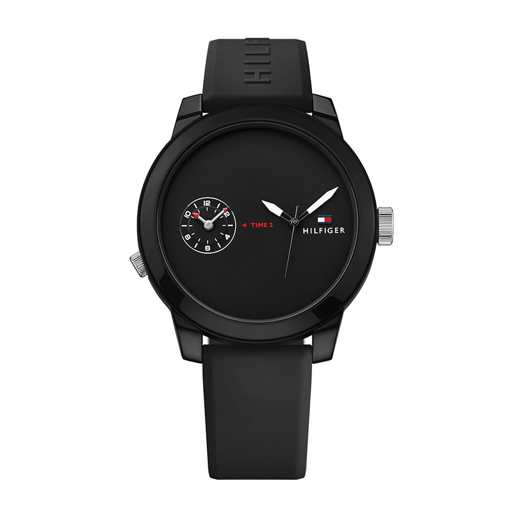 The Tommy Hilfiger Men's Cool Sport Black Silicone Strap Watch ($95) has two faces in one.