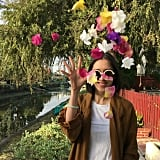 Eva Chen Completed Her #OOTD With Colourful Flowers