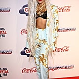 For the 2013 Jingle Bell Ball, Gaga stepped out in a starfish-print suit with a lace bralette and statement necklace — because why wouldn't she.