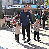 Mark Wahlberg with his sons at The Grove.
