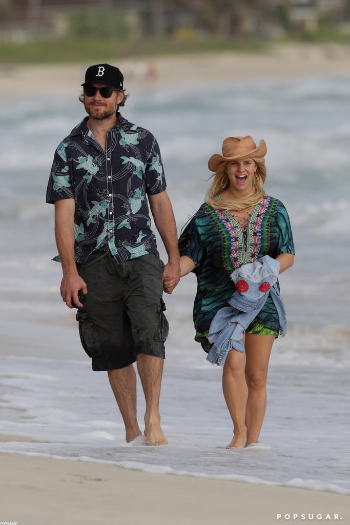 "Pregnant Jessica Simpson and Eric Johnson took a romantic walk on the beach in Hawaii today. The couple's been spending time with family in the islands for the holidays, and Jessica shared a sweet message from their getaway with fans on Twitter. She posted a picture of daughter Maxwell next to the writing ""Big Sis"" to announce her second pregnancy. Jessica also confirmed the news in her latest commercial for Weight Watchers, saying that losing over 50 pounds with the program was ""great timing because I'm having another baby."" The news puts her back on the list with the other celebrities who were pregnant in 2012, including Claire Danes, who gave birth to son Cyrus earlier this month. Jessica won't be continuing on with Weight Watchers while she's pregnant, though, as her weight and well-being will be monitored by an obstetrician instead."