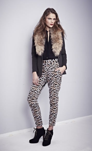 After spending the first few weeks of chillier weather mixing up tights and skirts, I've already hit Fall fashion fatigue. Too lazy to put on another pair of tights but not yet resigned to days of jeans and boring black pants, these Nonoo snow-leopard trousers ($395) are the perfect antidote. — KS