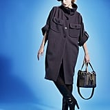 The coat takes a new cocoon shape  Wildlifeworks 'O' organic coat, Vegan Queen Boston Bag £475, Sternlein organic opaques £19.50