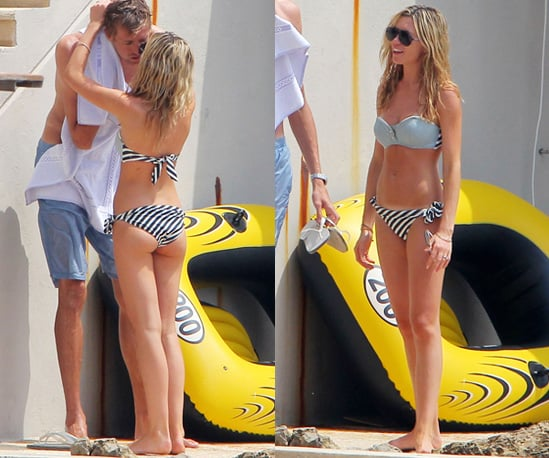 Photos of Abigail Clancy in Nautical Striped Bikini on Holiday with Peter Crouch