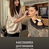 BTS of Phoebe Getting Her Makeup Done by Victoria Baron Pre-carpet