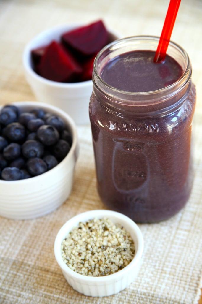 Beet Blueberry Chocolate Protein Smoothie