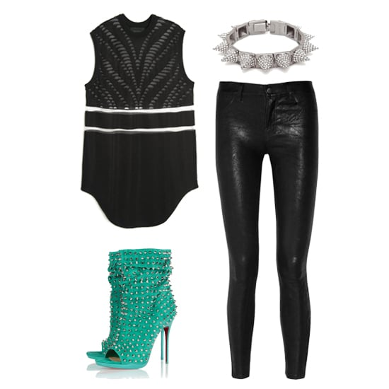 "We love this look for date night; it's sexy and strong, with a slight ""don't mess me with"" vibe. Leather skinnies never fail to take a look into punk territory, while this cutout mesh tank manages to stay feminine and fun at the same time. A pair of studded booties in a standout color will add a cool complement to your black-on-black ensemble.  Shop this look:  Alexander Wang Cutout Muscle Tank ($950) CC Skye Pavé Punk Princess Spike Bracelet ($350) J Brand Leather Skinny Pants ($895) Christian Louboutin Studded Suede Ankle Boots ($1,995)"