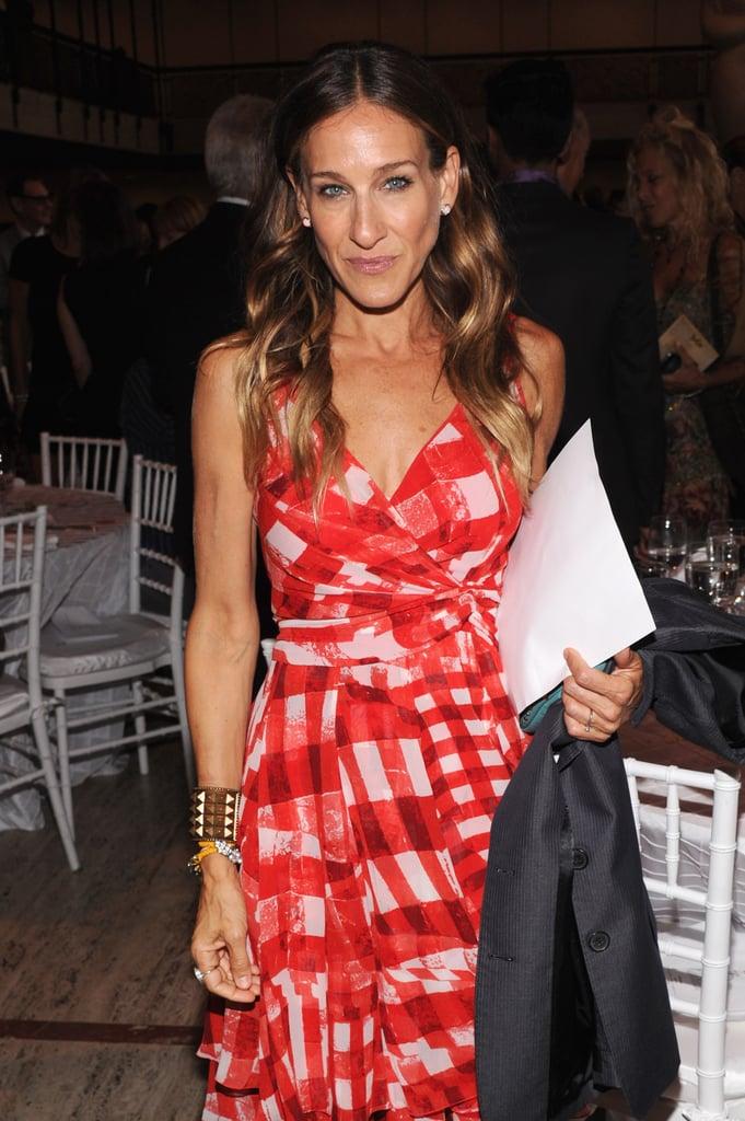 Sarah Jessica Parker wore a red dress.