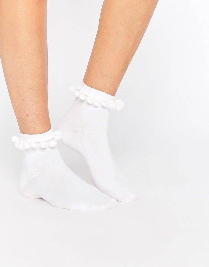 Monki Pom Pom Trim Ankle Socks ($9)