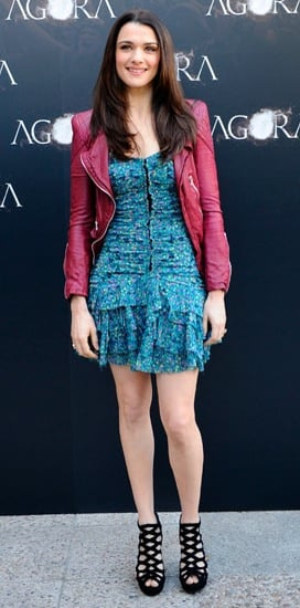 Actress Rachel Weisz Attends Agora Madrid Photocall in Blue Floral Dress and Berry Leather Jacket