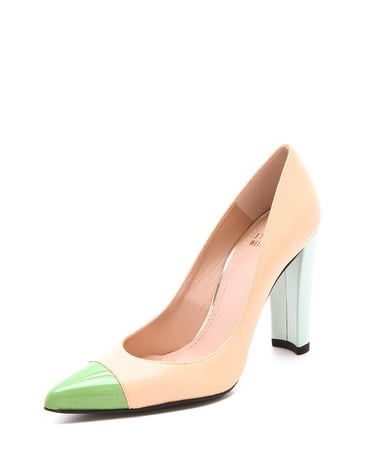 We love the colorblocked effect on this Stuart Weitzman Naughty cap-toe pump ($335).