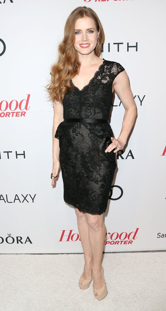 Amy Adams donned a lacy black number to Spago.