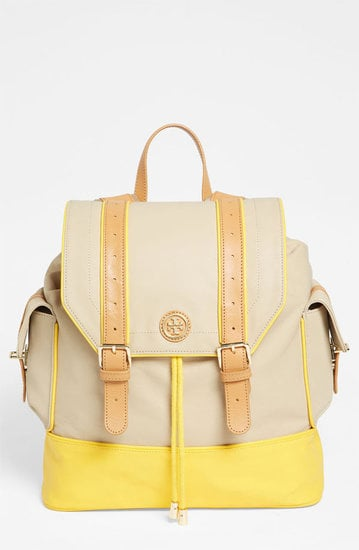 "The sweet pop of color on Tory Burch's Pierson Backpack ($365) just screams ""Spring."""
