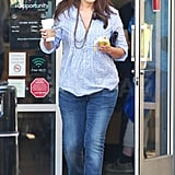 Lindsay Price grabbed a banana and hot beverage at Starbucks.