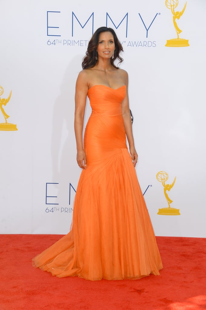 Padma Lakshmi, mom to Krishna, 2, wowed in a strapless orange gown.