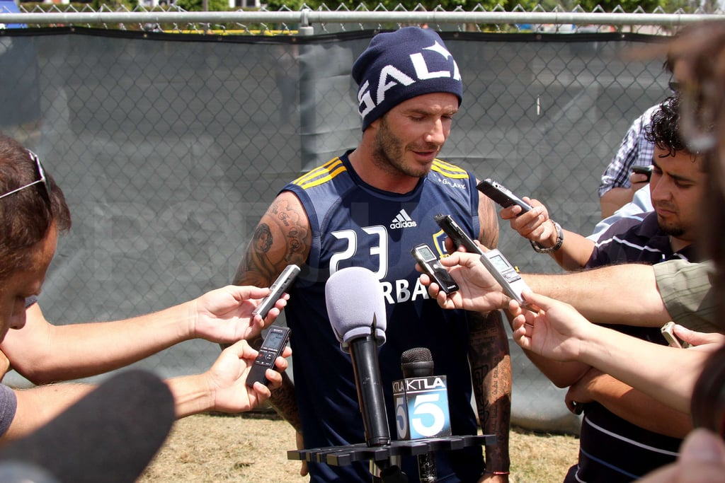David Beckham took questions from reporters.