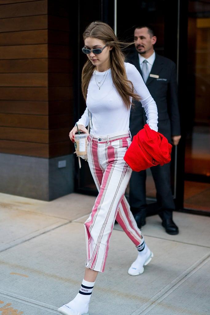 Gigi Hadid Vetements Reebok Sock Sneakers October 2018