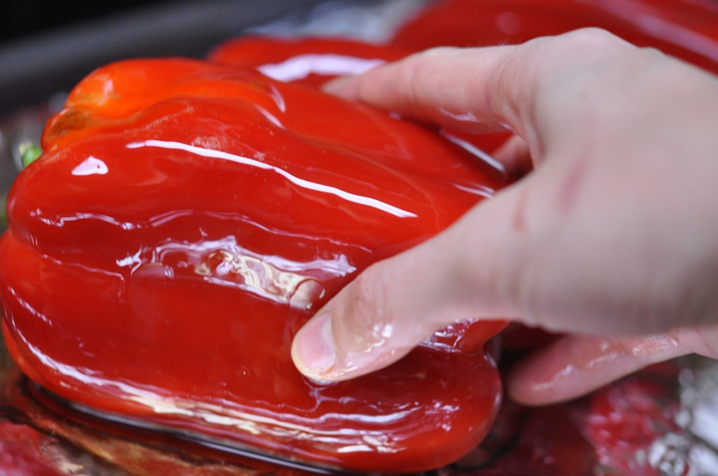 Coat each side of the bell pepper in olive oil and place the peppers in the preheated oven.