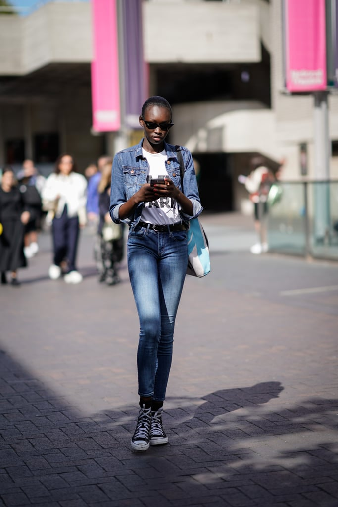 A denim jacket, jeans, and t-shirt. Easy peasy.