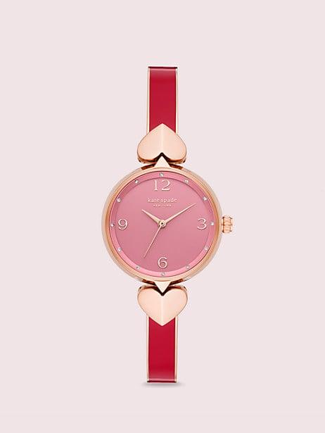 Hollis Red Enamel Stainless Steel Bangle Watch