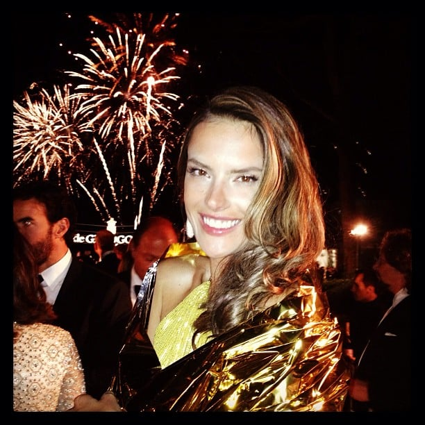 Alessandra Ambrosio checked out the fireworks at the De Grisogono party during the Cannes Film Festival. Source: Instagram user alecambrosio