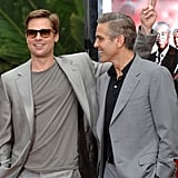 How's this for a two-for-one special? Brad and George Clooney looked great in gray for the Ocean's Thirteen handprint ceremony in LA in June 2007.