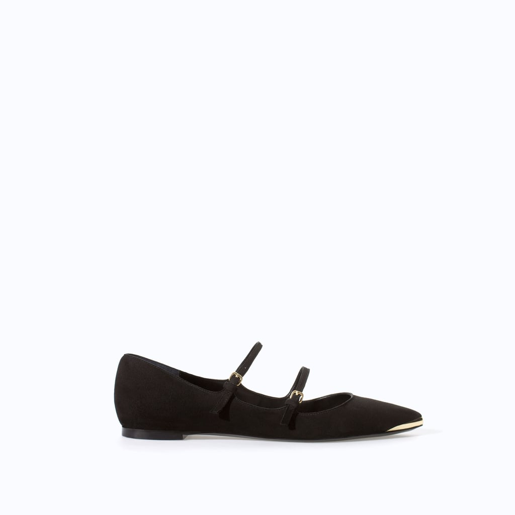 Zara Double-Strap Black Ballet Flats With Gold Tip ($60)
