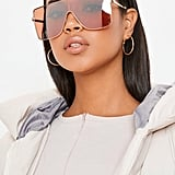 Missguided Pink Large Clear Visor Sunglasses
