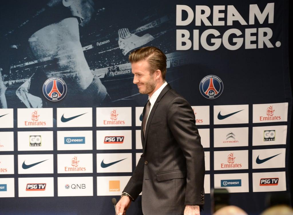David Beckham attended a press event in Paris.