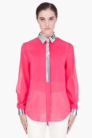 Phillip Lim's Fuchsia Metallic-Trimmed Floating Silk Blouse ($475) is a great option if you don't feel like showing too much skin. Finish the look with cropped black trousers and point-toe pumps for a look that's equally dressy and polished.