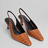 Kacey Musgraves' Exact By Far Diana Tan Croco Embossed Leather Slingbacks